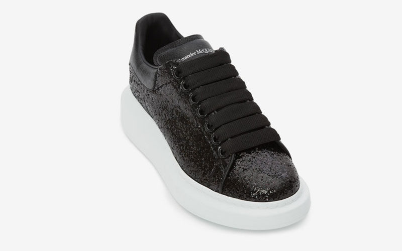 Alexander Mcqueen oversized glitter dames sneakers zwart/wit