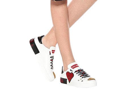 Dolce & Gabbana Portofino Dames Sneakers - Wit/Rood/Goud