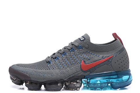 Nike Air VaporMax Flyknit 2 Heren Sneakers - Grijs/Zwart/Blauw/Oranje