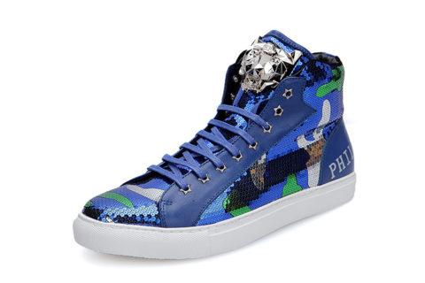 Philipp Plein Hoge Unisex Sneakers - Blauw/Wit