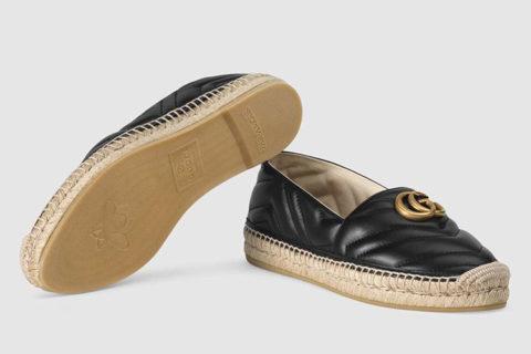 Gucci leren chevron espadrille dames instappers zwart/beige
