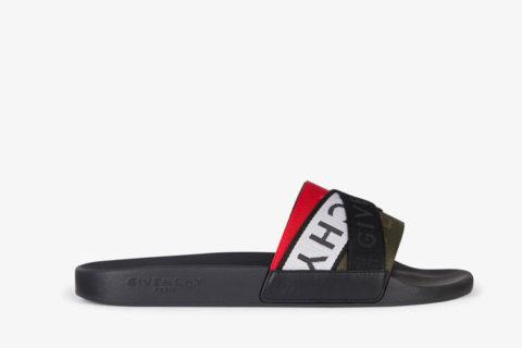 Givenchy Paris 4g Webbing heren slippers zwart/wit