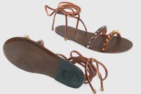Gucci lace up leren heren sandalen bruin