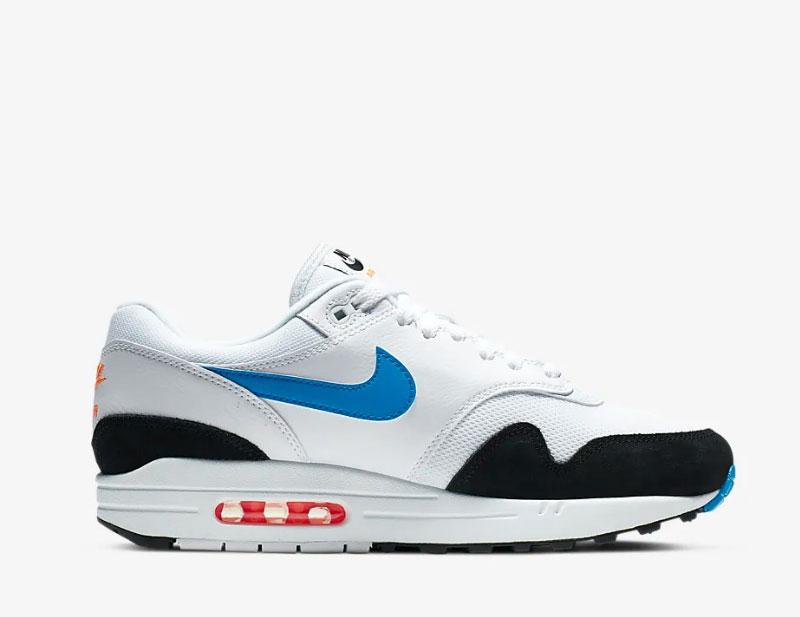 Nike air max 1 sneakers wit/blauw