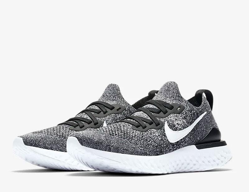 Nike epic react flyknit 2 dames sneakers zwart/wit