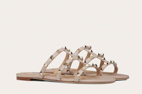 Valentino Garavani rockstud dames slippers beige
