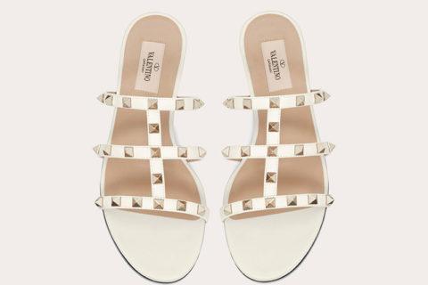 Valentino Garavani rockstud dames slippers wit