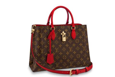Louis Vuitton flower tote tas bruin/rood