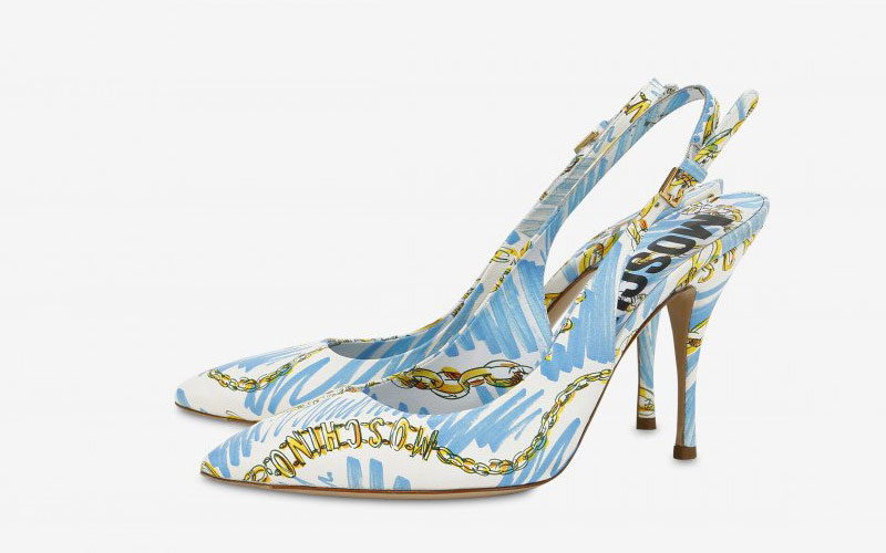 Moschino brushstroke chain slingback dames pumps blauw/wit