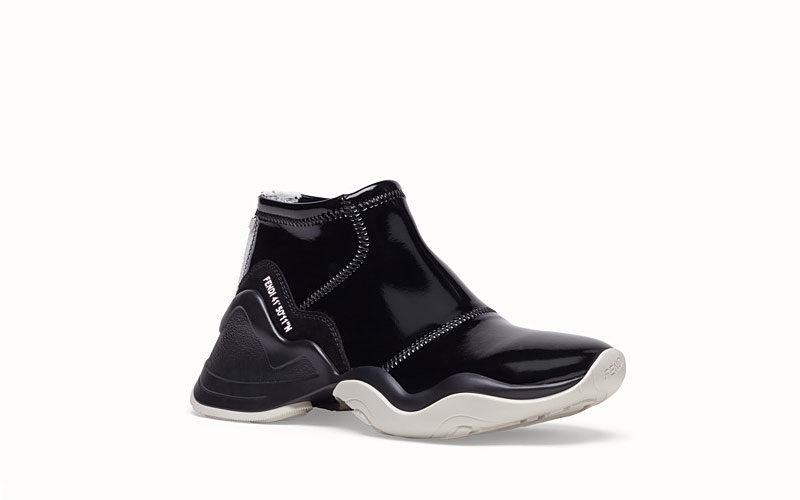 Fendi glossy dames sneakers zwart/wit