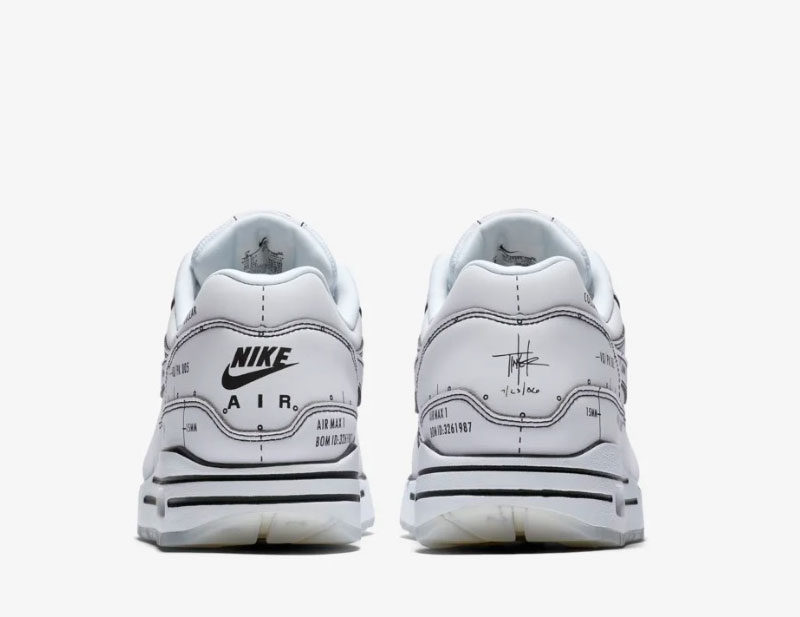 Nike air max 1 sketch sneakers wit/zwart