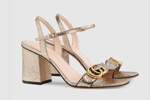 Gucci lederen dames sandalen metallic goud