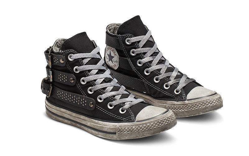 Converse all star buckle studded chuck taylor hoge sneakers zwart