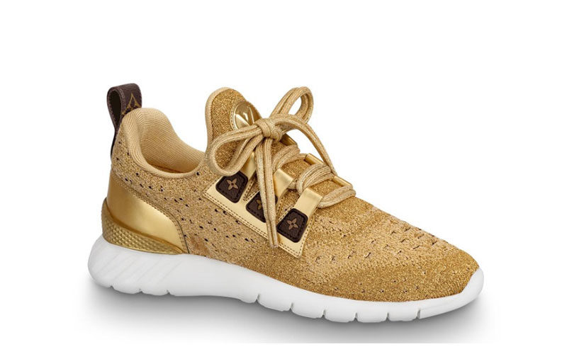 Louis Vuitton aftergame dames sneakers goud/wit