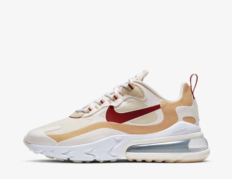 Nike air max 270 react dames sneakers wit/goud