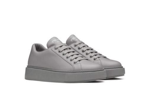 Prada lederen lage dames sneakers grijs
