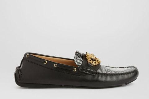Versace mock python heren instappers zwart