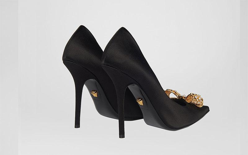 Versace v-bow dames pumps zwart
