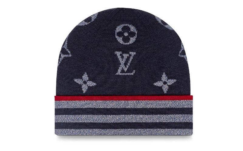 Louis Vuitton monogram stripe knit muts donkerblauw