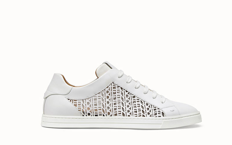Fendi lederen lage heren sneakers wit
