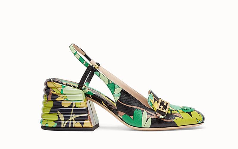 Fendi slingback dames sandalen groen/geel