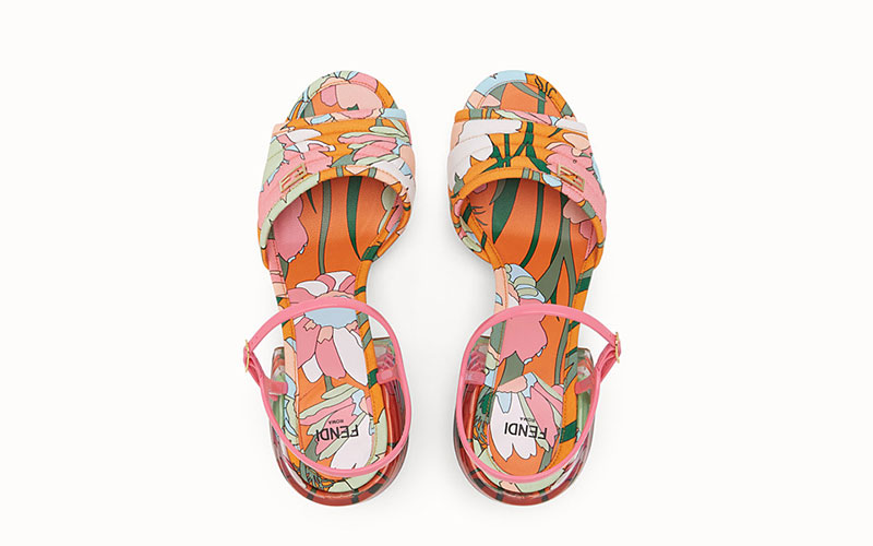 Fendi slingback dames sandalen roze/oranje
