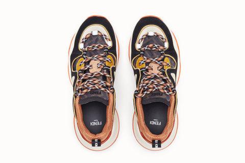 Fendi suède lage dames sneakers bruin/oranje