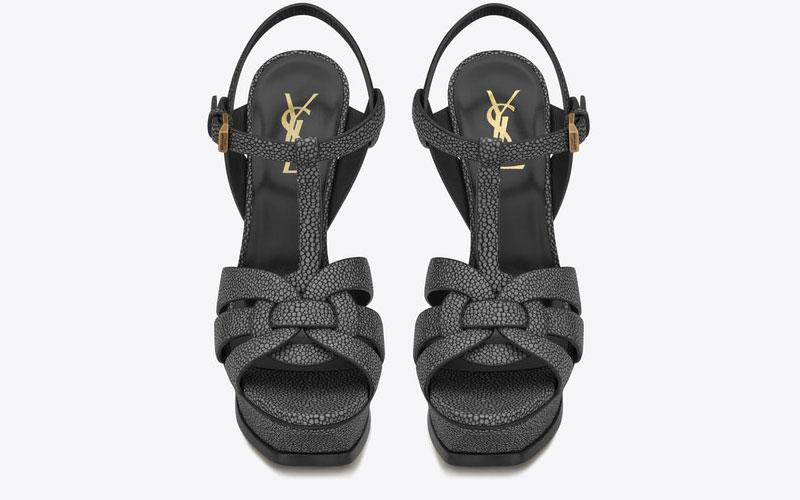Yves Saint Laurent tribute leder dames sandalen donkergrijs