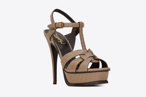 Yves Saint Laurent tribute croco leder dames sandalen bruin
