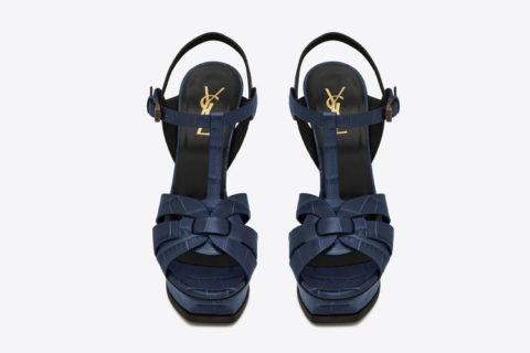 Yves Saint Laurent tribute croco leder dames sandalen donkerblauw