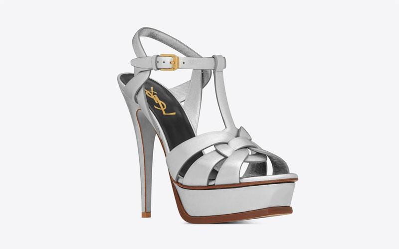 Yves Saint Laurent tribute dames sandalen metallic/zilver