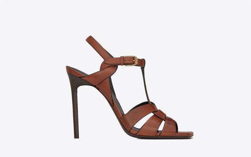 Yves Saint Laurent tribute leder dames sandalen bruin