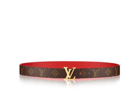 Louis Vuitton lv initales 30mm reversible riem bruin/rood