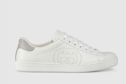 Gucci ace interlocking g heren sneakers wit/zilver