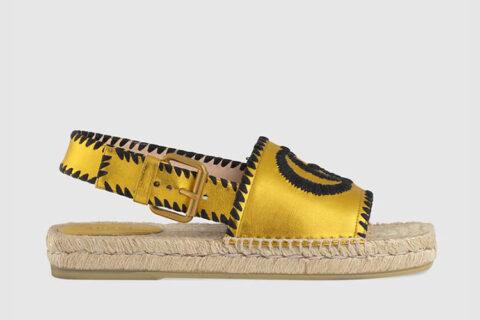 Gucci espadrille dames sandalen metallic goud