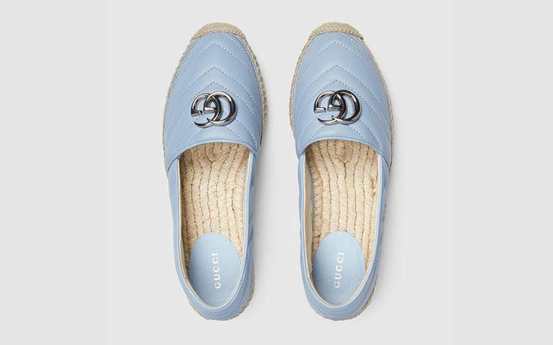 Gucci matelassé espadrille dames instappers lichtblauw