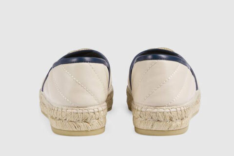 Gucci matelassé espadrille dames instappers wit/donkerblauw