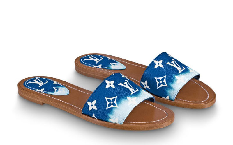Louis Vuitton escale lock it dames slippers blauw/wit