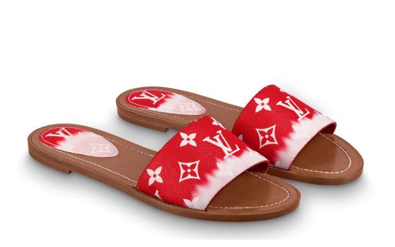 Louis Vuitton escale lock it dames slippers rood/roze