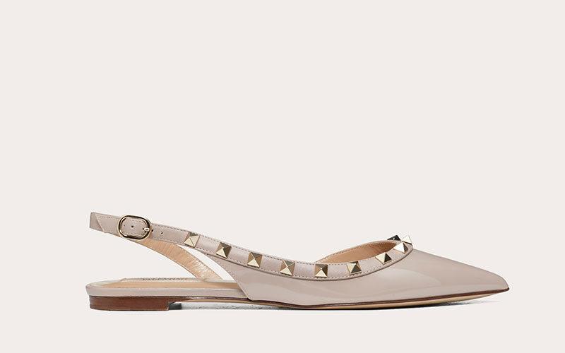 Valentino garavani rockstud slingback dames ballerina's beige
