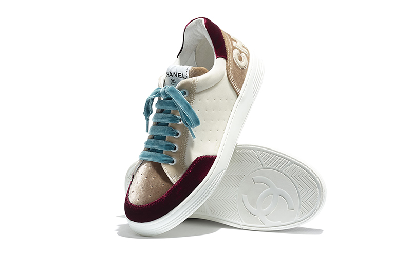 Chanel fluweel dames sneakers wit/beige