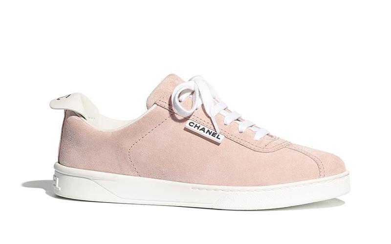 Chanel suèdedames sneakers roze/wit