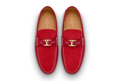 Louis Vuitton hockenheim heren instappers rood