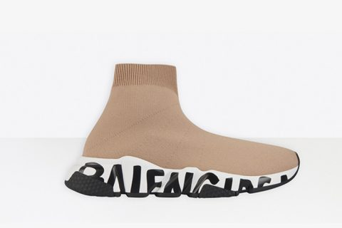 Balenciaga speed trainers graffiti dames sneakers beige
