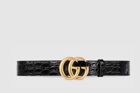 Gucci gg marmont riem zwart/goud - 01