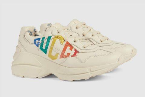 Gucci rhyton gucci print kinder sneakers beige