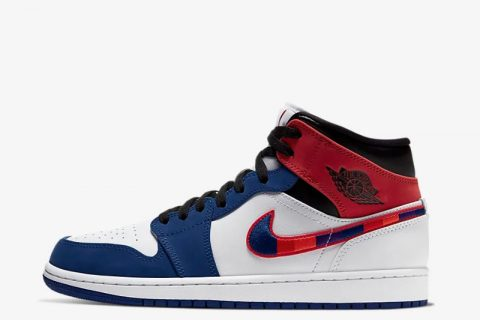 Nike air jordan 1 mid sneakers wit/blauw