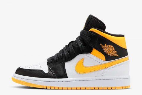 Nike air jordan 1 mid sneakers zwart/geel