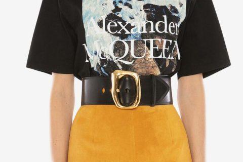 Alexander McQueen molten riem zwart/goud