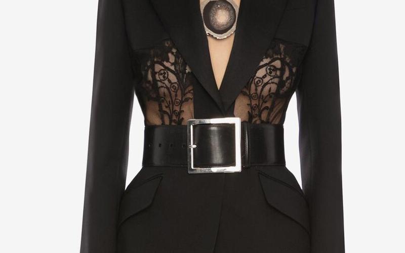 Alexander McQueen square riem zwart/zilver